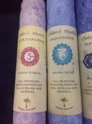 Velones reiki chakras aromáticas 20 cm artesanales