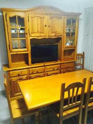 Mueble comedor mesa y 6 sillas madera pino