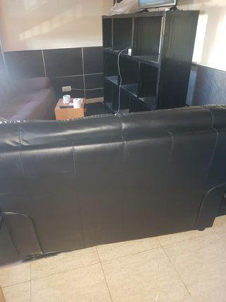 sofá d cuero negro