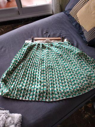 Falda plisada zendra tacto seda forrada