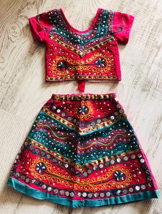 Conjunto étnic falsas top/disfraz india 1,5/2 años