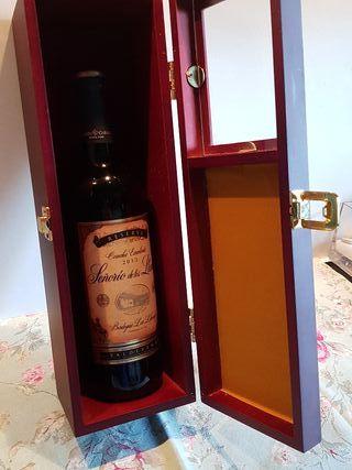 Caja madera botella vino