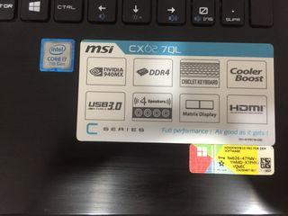 Portátil MSI Cx 62 7Ql