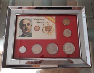 Cuadro monedas (pesetas) con carnet de franco