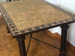 Mesa + 6 Sillas artesanas de forja y ceramica