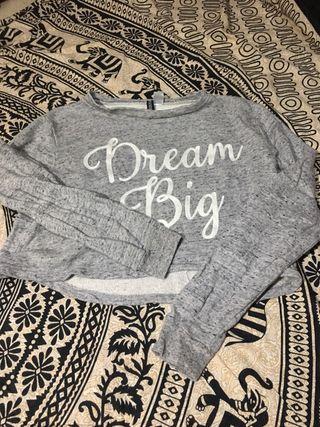 Suéter crop top gris