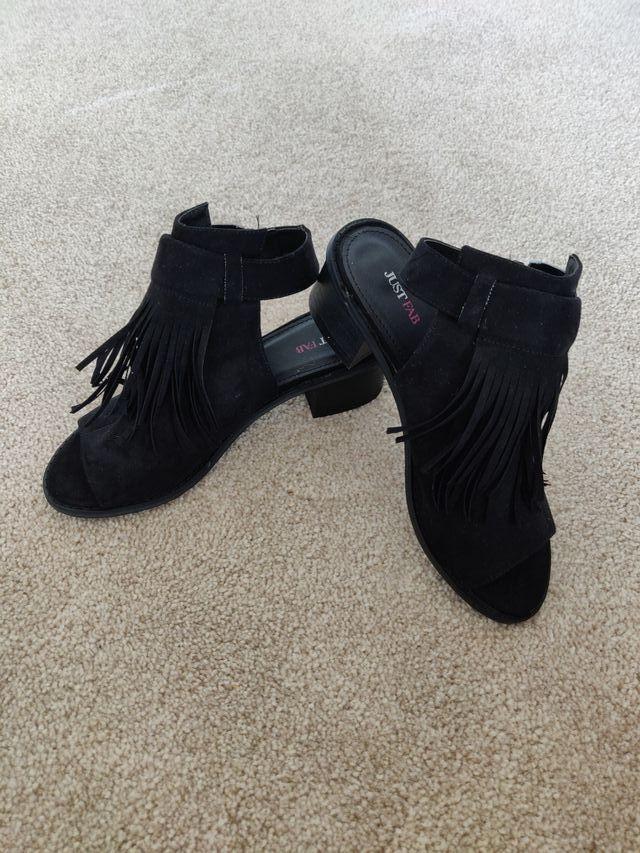 Black open toe heeled sandals