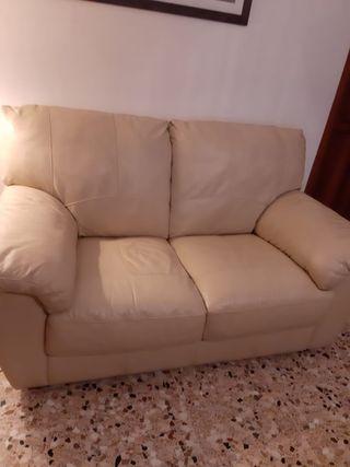 Sofá polipiel beige