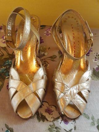 Zapatos de chica, mujer.Dorados,Piel de LAURA AMAT
