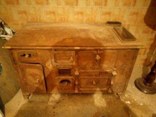 cocina de leña antigua hierro macizo y bronce