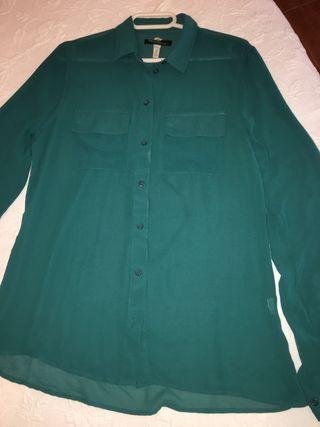 Camisa recta fluida verde menta T/S bershka