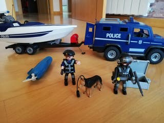 Playmobil jeep, lancha policia