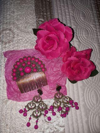 conjunto complementos de flamenca rosas