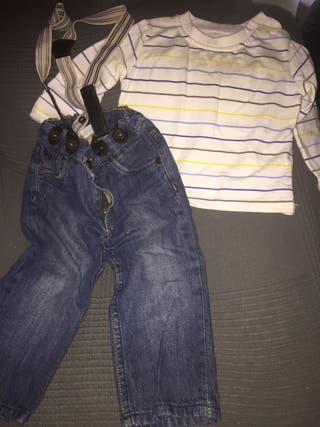 Pantalón con tirantes elásticos y camiseta