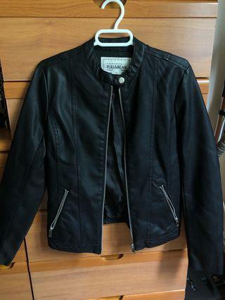 chaqueta de cuero negra NUEVA