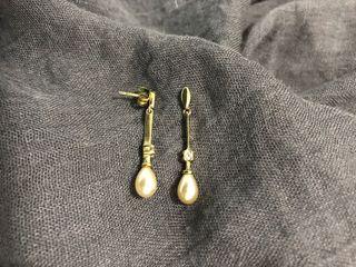 Pendientes baño oro y circonitas con perla lagrima