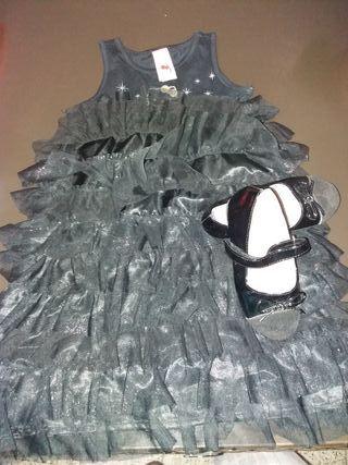 conjunto de vestido talla 6 o 7 y zapatos num 27