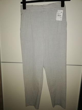 pantalón tela gris