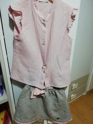 conjunto falda y camisa