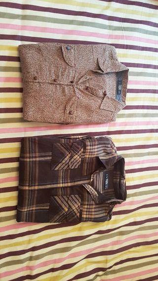 Pack de dos camisas marrones. Talla S