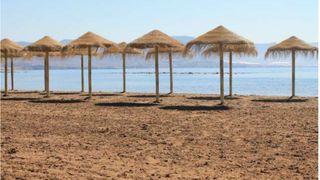 Amacas playa y sombrilla de esparto