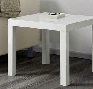 Mesa auxiliar blanca alto brillo