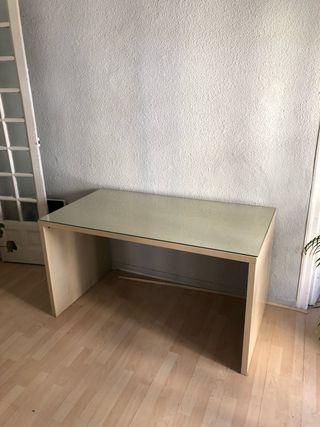 Mesa escritorio madera blanco + cristal