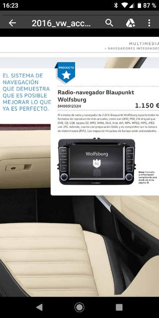 radio navegador de vw accesorios