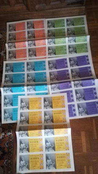 5 billetes de lotería nacional de 1960