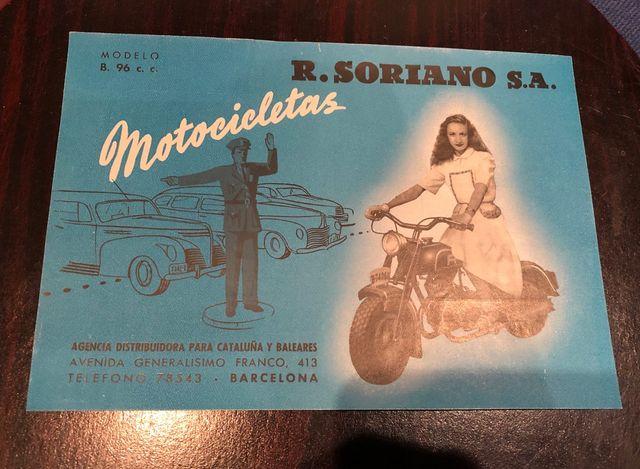 Folleto Motocicletas R. Soriano S.A. B. 96 cc