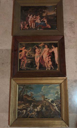 Lote de 3 cuadros antiguos