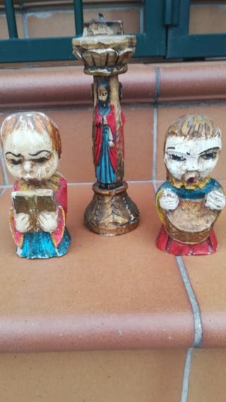2 antiguos ángeles y portavelas