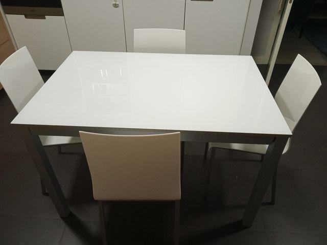 Mesa de cocina moderna con cristal blanco de segunda mano por 350 ...