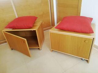 Dos armarios bajos en madera de haya.