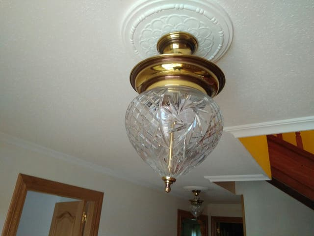 2 lámparas de cristal de bohemia