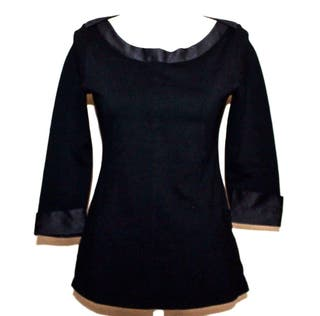 CHANEL blusa top sueter negro uniform logo satén M
