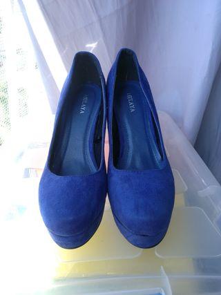 Zapatos ante azul añil 39-40