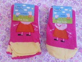 6 calcetines d Peppa Pig SIN ESTRENAR. N° 26-30