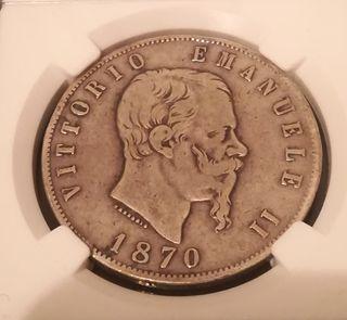 moneda del 1870 de 5 liras de plata