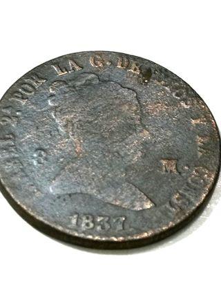 Isabel II, 8 Maravedis del año 1837.