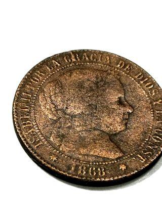 Isabel II, 2 y 1/2 Céntimos de Escudo del año 1868