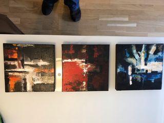 Tríptico cuadros de pintura 30x30cm