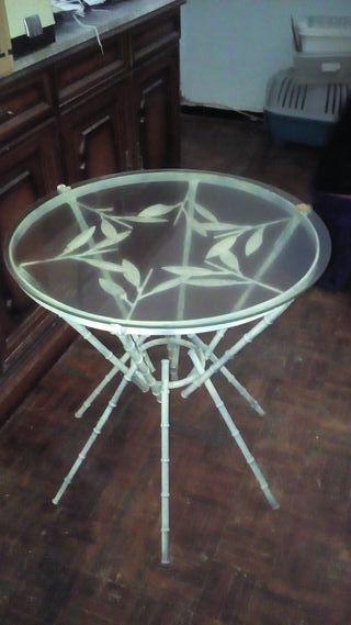 Mesa cristal bambù