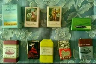 Colección de 9 pastillas pequeñas de jabón.Vintage