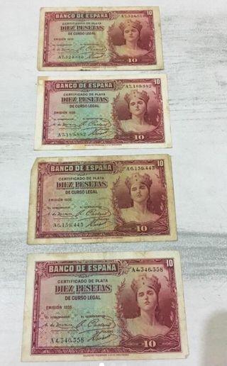 Lote de 4 billetes de 10 pts. de 1935