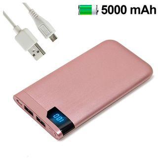 BATERÍA EXTERNA MICRO-USB 5000MAH METAL ROSA