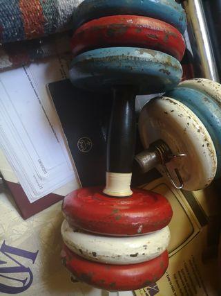 6kg en discos de pesas mas la barra