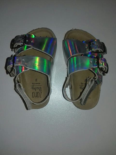 Sandalias plata Zara N°18 niña