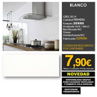 AZULEJO PARED BLANCO GRES 20X60