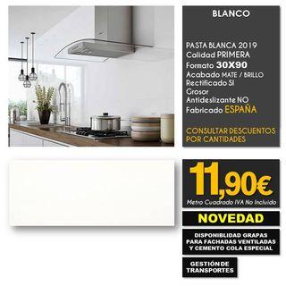 AZULEJO PARED BLANCO GRES 30X90 RECTIFICADO